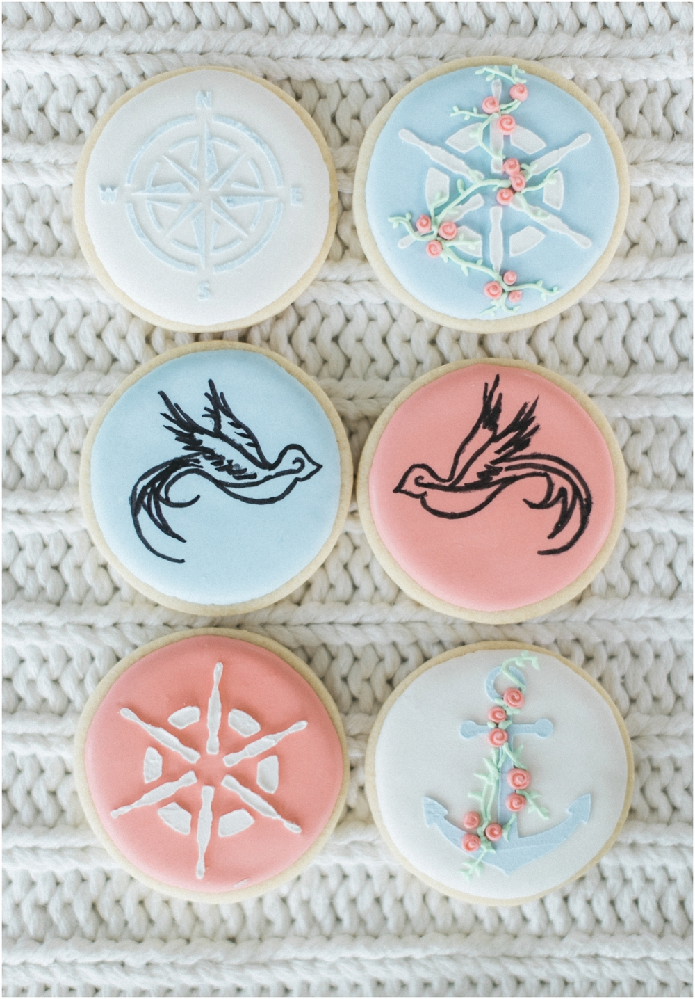 Seabrook nautical fine art wedding. Artisan custom frosted sugar cookies