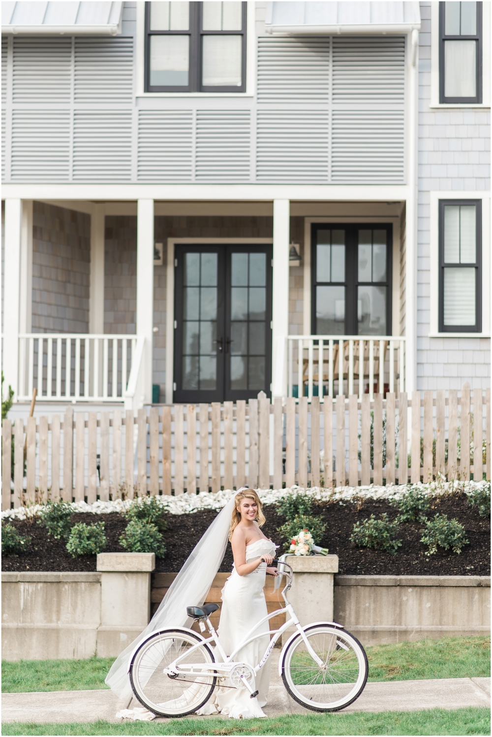 Bride with a bike at seabrook