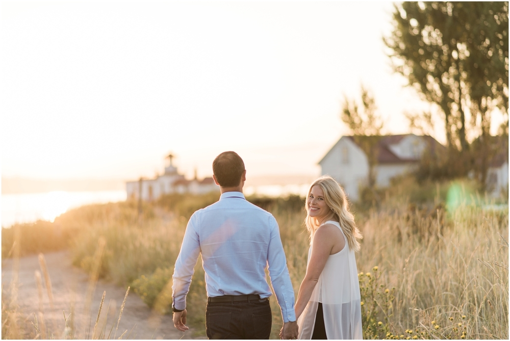 Discovery Park Sunset Beach engagement. Lighthouse. Golden Hour.
