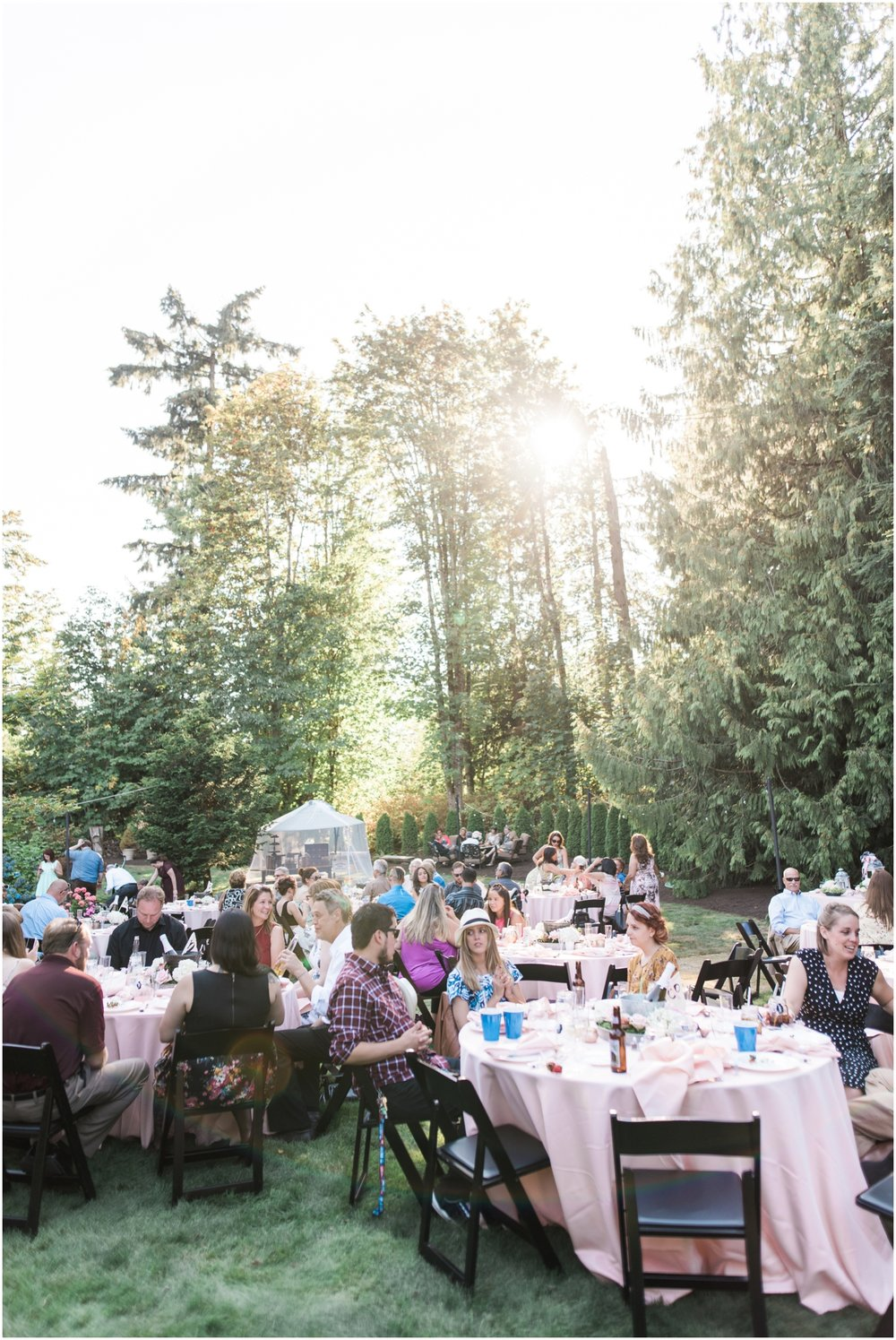 Backyard pink and black snohomish county wedding.
