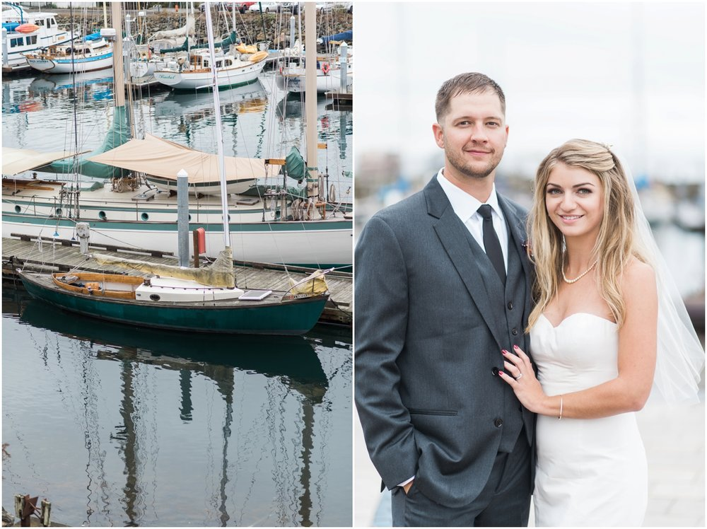 Chris & Laurens Nautical Port Townsend Wedding. Fall.  Old vintage Wooden Boats. Driftwood. Sand. Pre-Ceremony cocktails. Chalkboard Signs.
