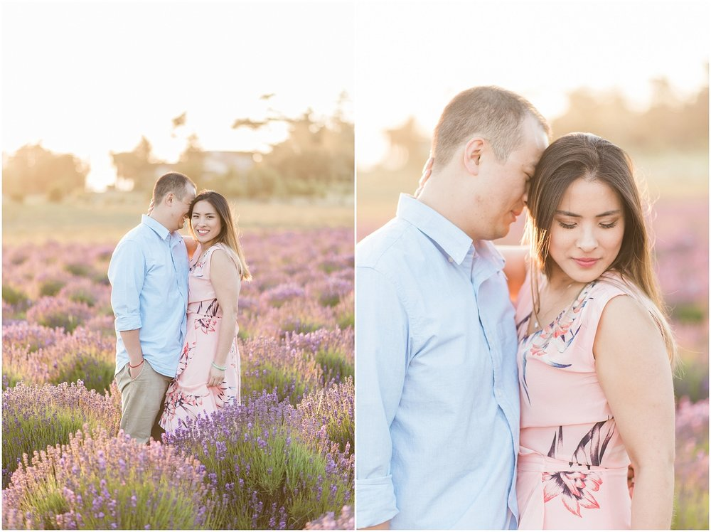 Whidbey Island, PNW Engagment Photographer, Lavendar Farm, Rose Gold, Romantic Photography, Ebeys Landing, Sunset