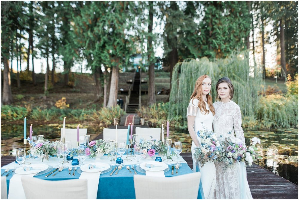 Colonial, two brides, mrs. & mrs. Taper candles, lake front, velvet, lesbian, gay, Seattle wedding, outdoor, summer, fall, golden hour B. Jones Photography, Snohomish wedding
