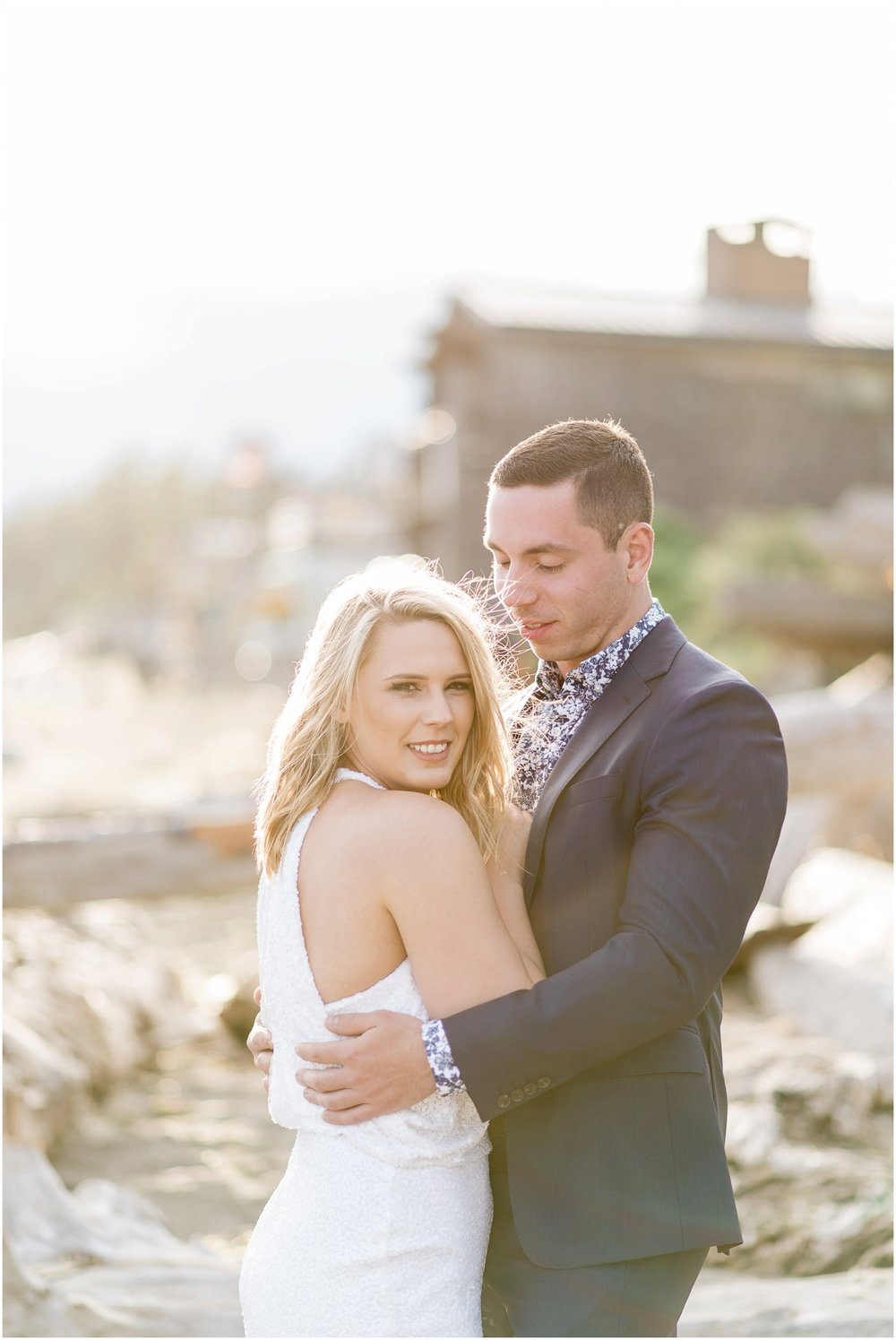 Nautical Beach Engagement. Mission Beach. PNW Beach Wedding