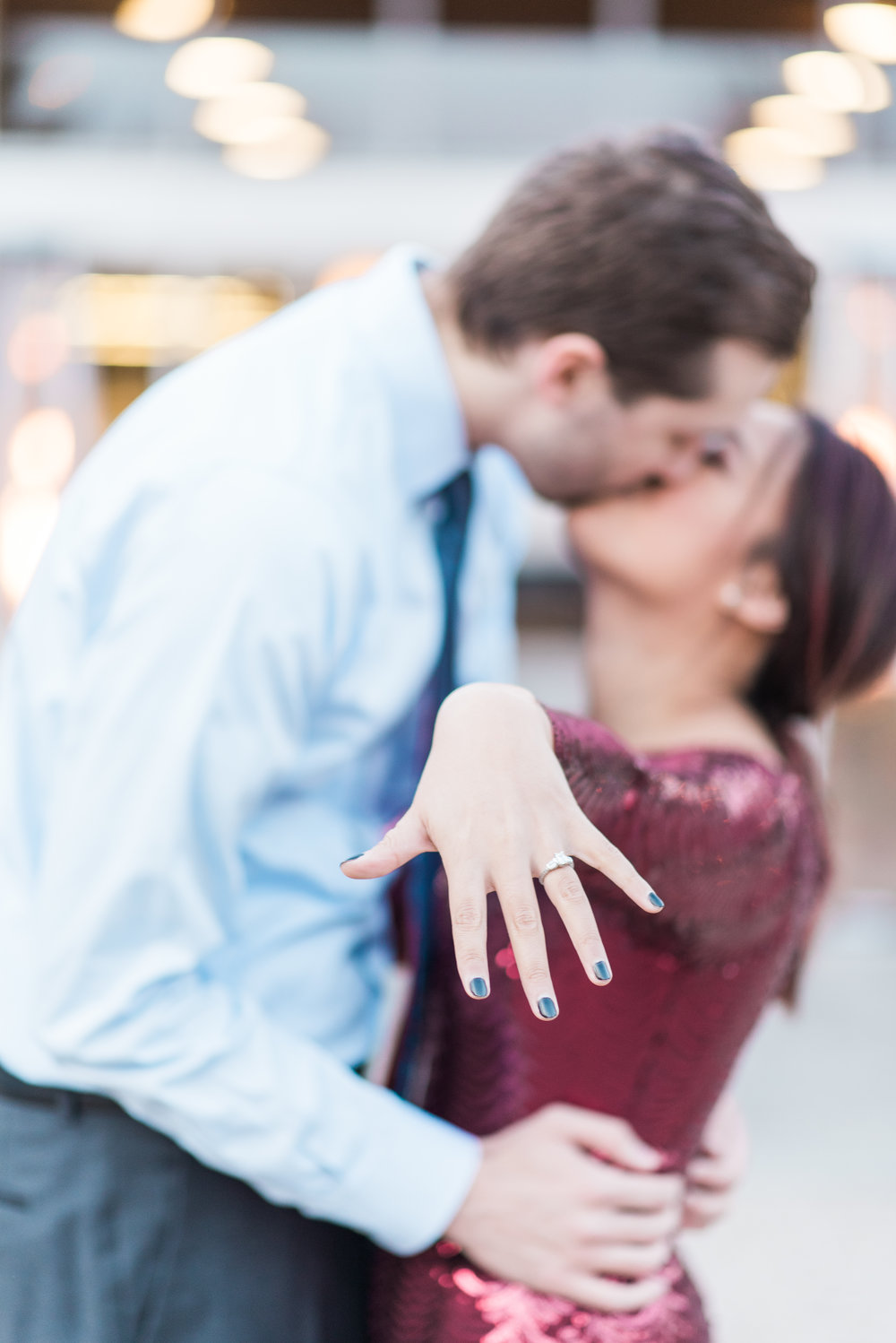 Novelty Hill winery Proposal with LCM Weddings. Sequin red dress