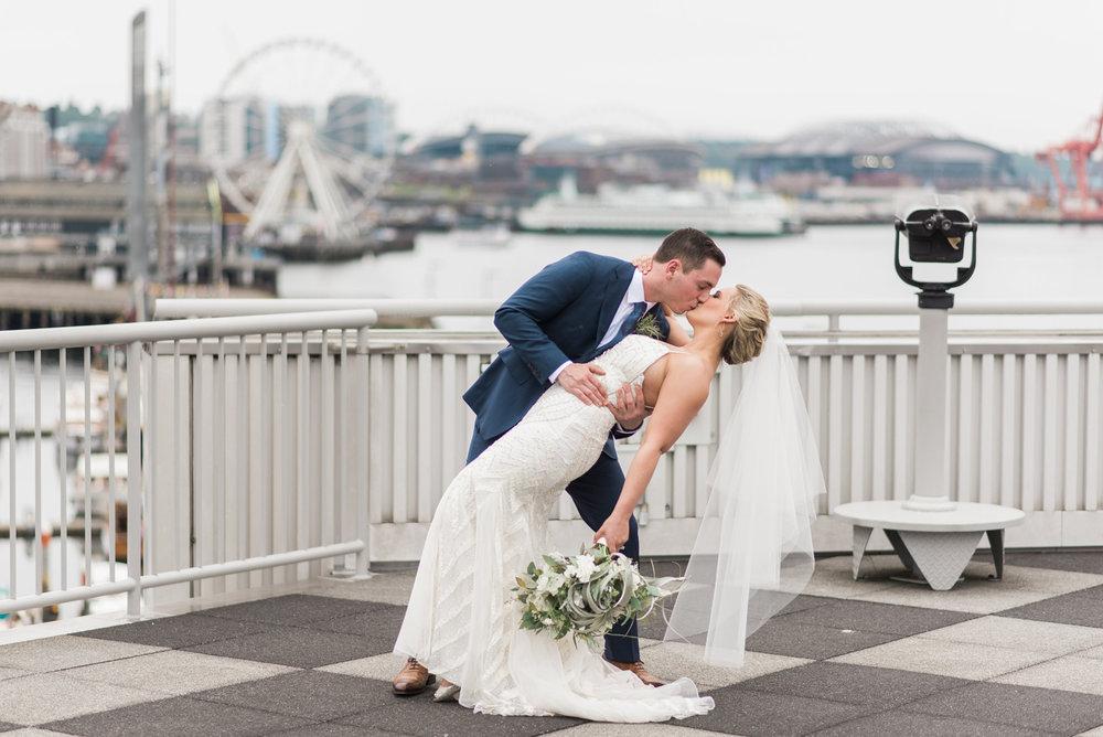 Nautical Seattle Waterfront Wedding. Ferris Wheel. Cruise Termin