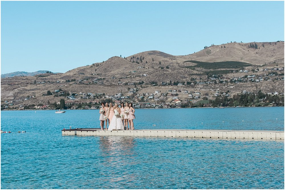 Lake Chelan Wedding. Bridesmaids in Blush mismatched dresses on