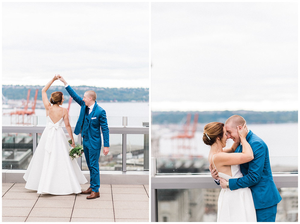 Seattle Courthouse Elopement. Pike Place, great wheel, gas works