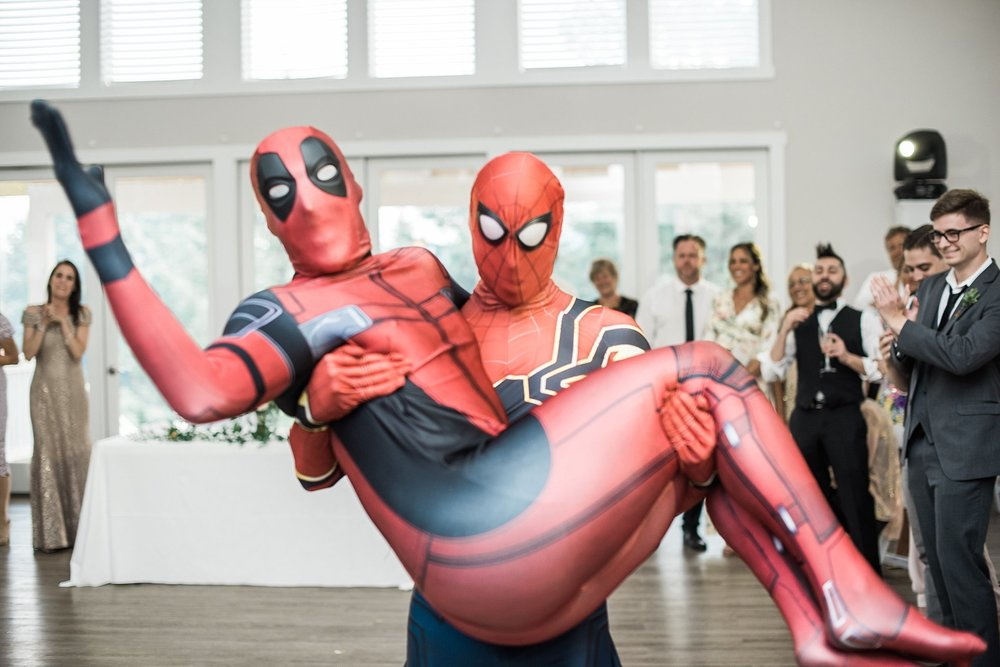 wedding reception Guest appearances at by Spiderman & deadpool.
