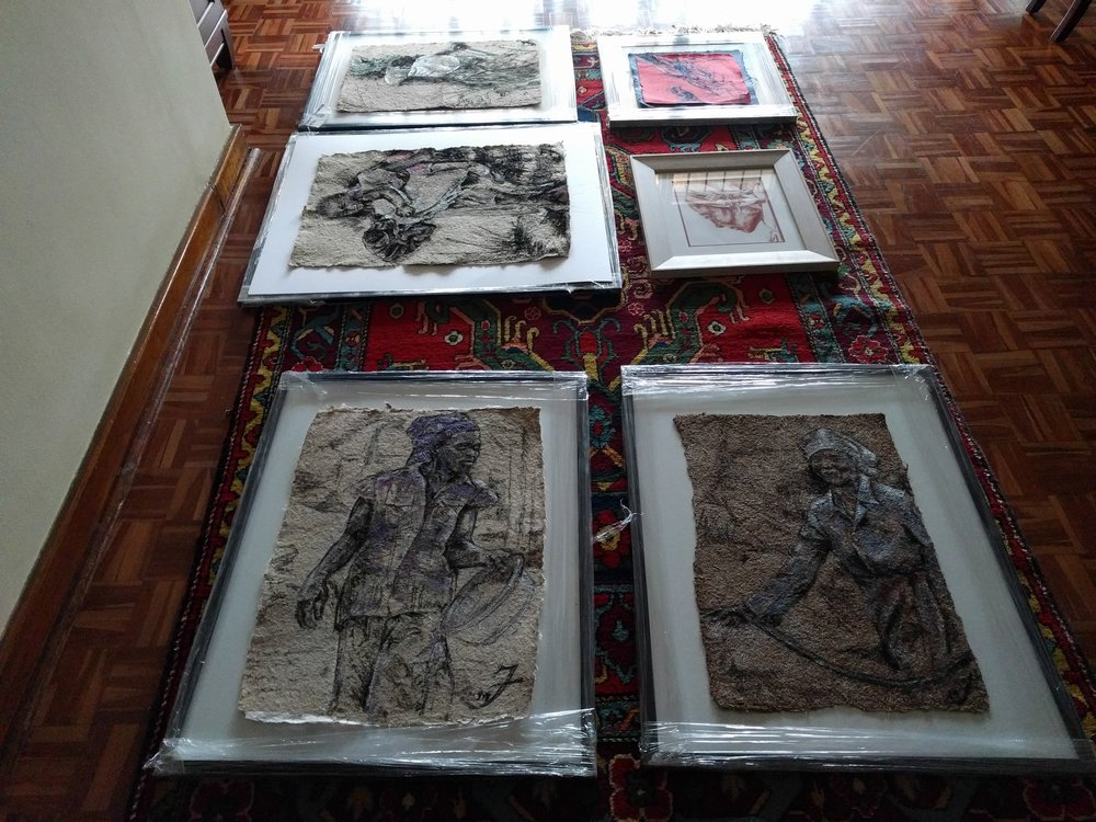 Preparing Framed Work  - The top left and bottom right are sold