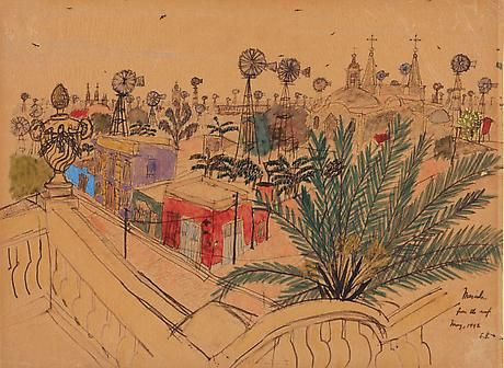 """Mérida from the roof"" drawing and watercolor by Elizabeth Bishop, 1942"