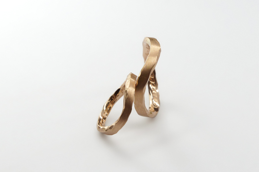 Alianças Leventina, em ouro rosé 18k.