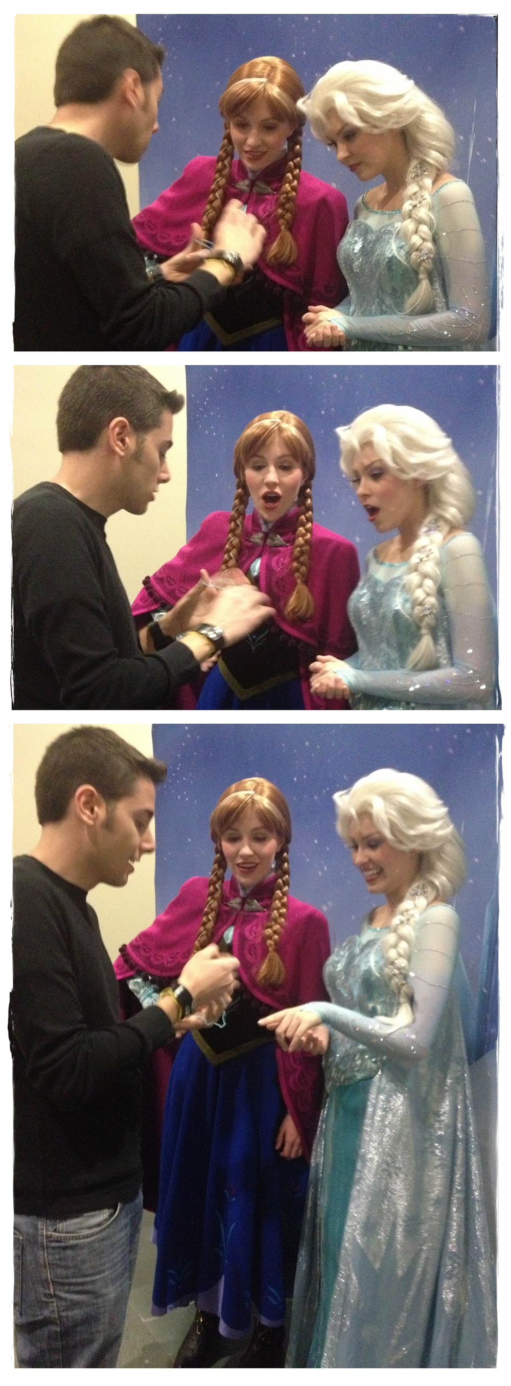 "Todd shows Anna & Elsa from Disney's  Frozen  some non-ice magic!   ""Todd is amazingly talented and we should make him  Official Magic Master and Performer  of Arendelle!"" -Anna"