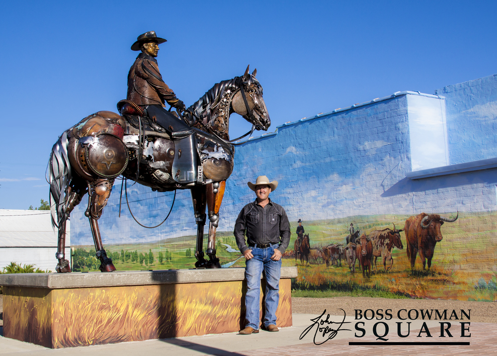 The most interesting attraction you will see in Lemmon, SD is this larger than life size sculpture of Ed Lemmon on a horse.