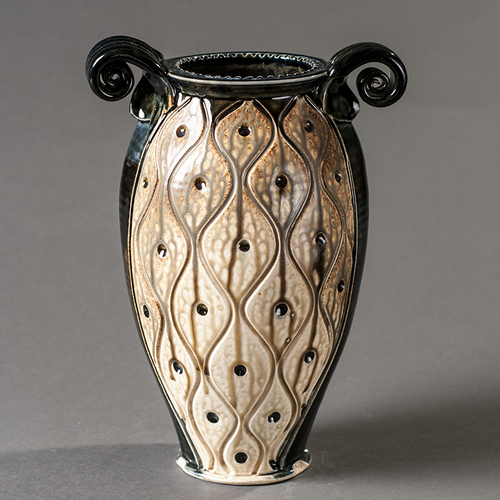 Clay Paper Medium Carved Vase Earthenworks