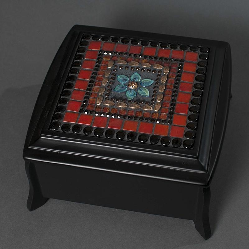 Zetamari Red Flower Mosaic Jewelry Box Earthenworks