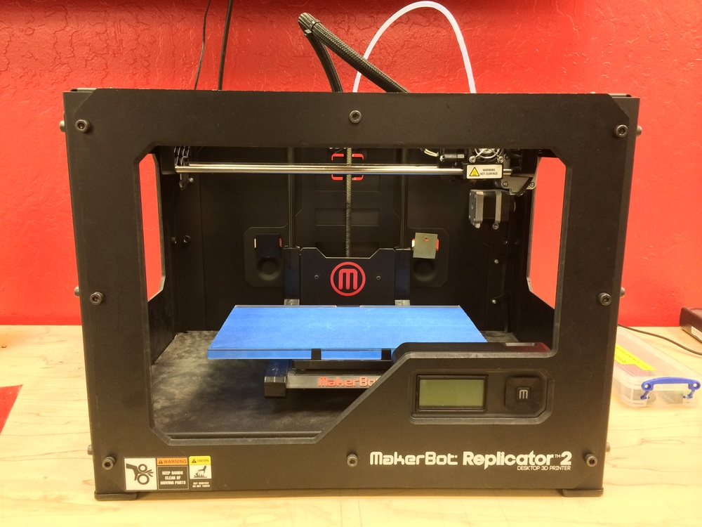 MakerBot Replicator 2 Tests complex parts quickly and efficiently. Specs: - Build area 28.5L X 15.3W X 15.5Hcm - Layer resolution 100 microns - Positioning resolution XY-axis 11 microns, Z-axis 2.5 microns - PLA or ABS filament