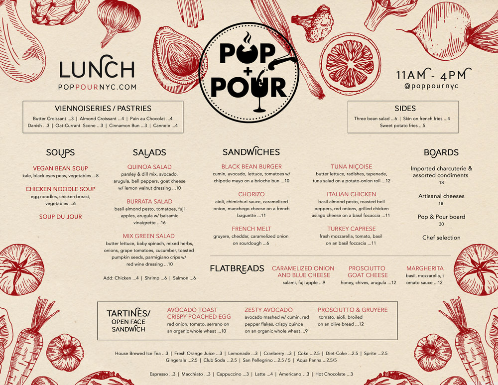 To-Go Lunch Menu Tri-fold Inside