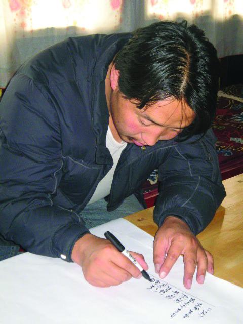 Trabu Chime Dorje planning the shoot