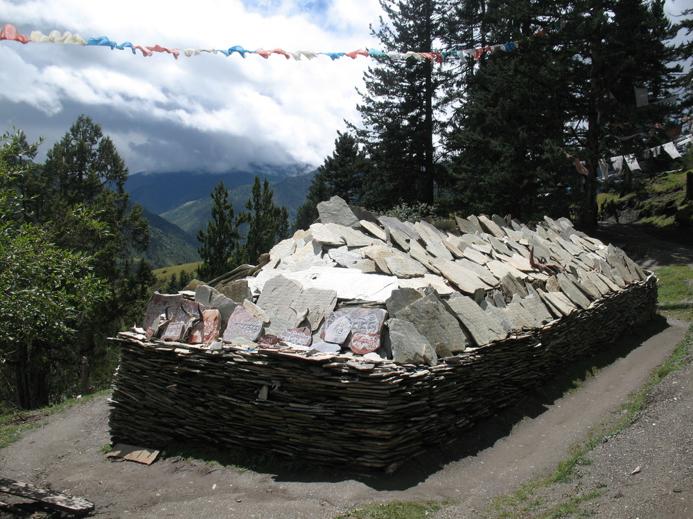 Mani stones at Dzongsar Retreat