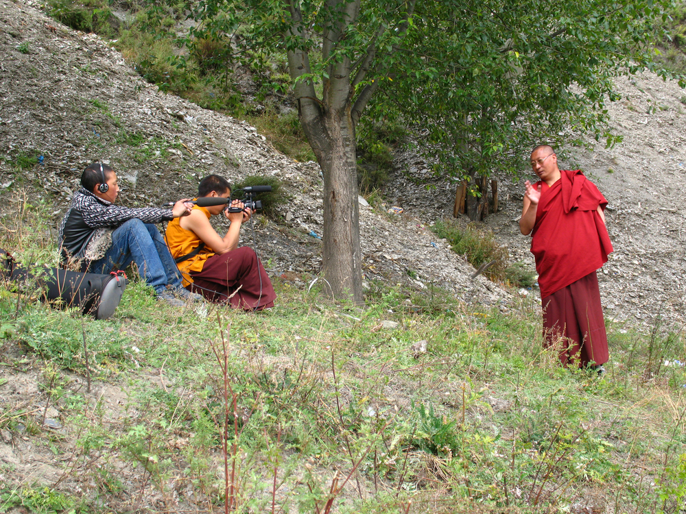 Trinly Dorje and Tra Chime Dorje filming at Dzongsar Monastery