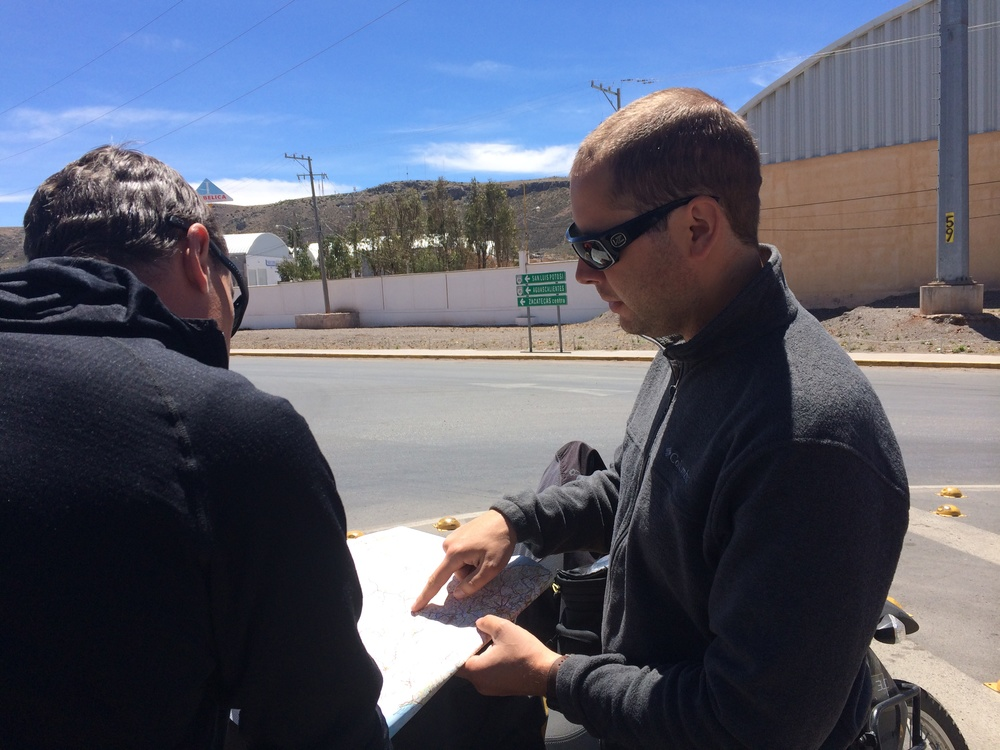 planning the afternoon on the roadside in zacatecas.