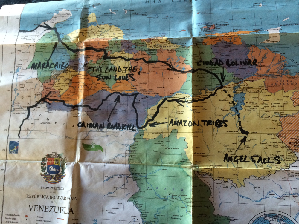 our route across venezuela and back. we decided to stop in at angel falls on the way from cartagena to san gil. in distance that's the equivalent of stopping in to aspen, colorado on the way from chicago to nashville. it was totally worth it.