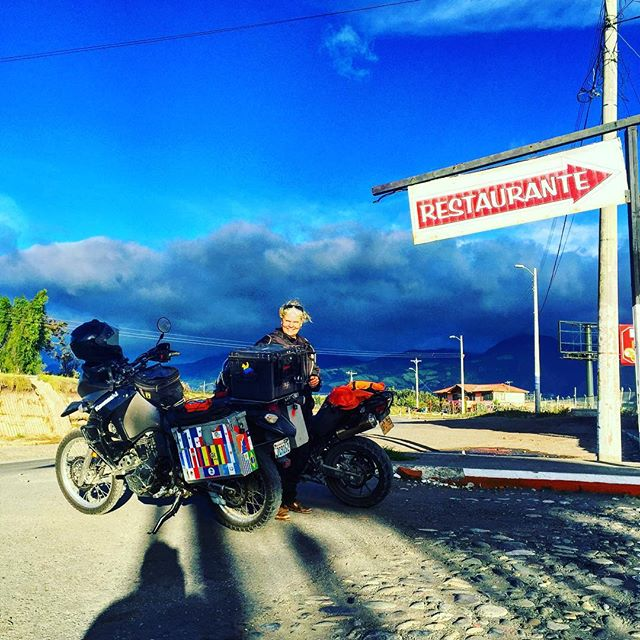 """Caught some dirt riding on a """"closed"""" section of highway in Ecuador. She thinks she's pretty cool. #CarowAdventure"""