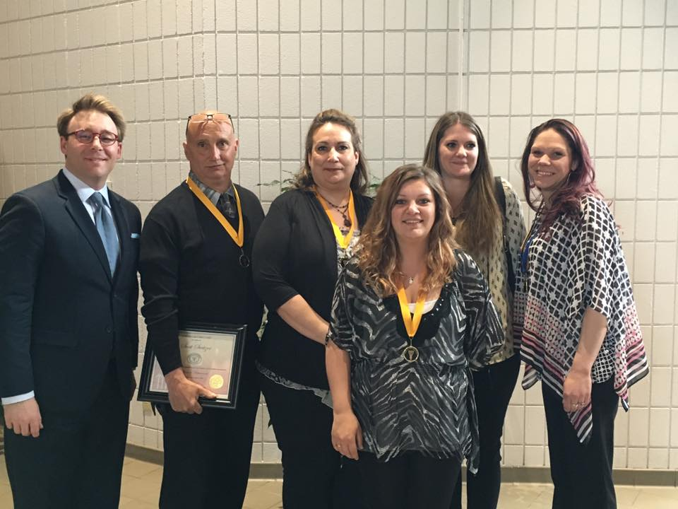 With the five latest graduates of the Northern Hills Drug Court, Tuesday, March 29, 2016, in Sturgis, SD. The Northern Hills Drug Court was the first such court in SD. Over the last nine years, 60+ individuals have completed the program. There are now more than six problem solving courts in South Dakota.