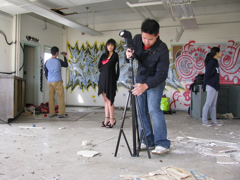 Alan Chan setting up for a photoshoot.