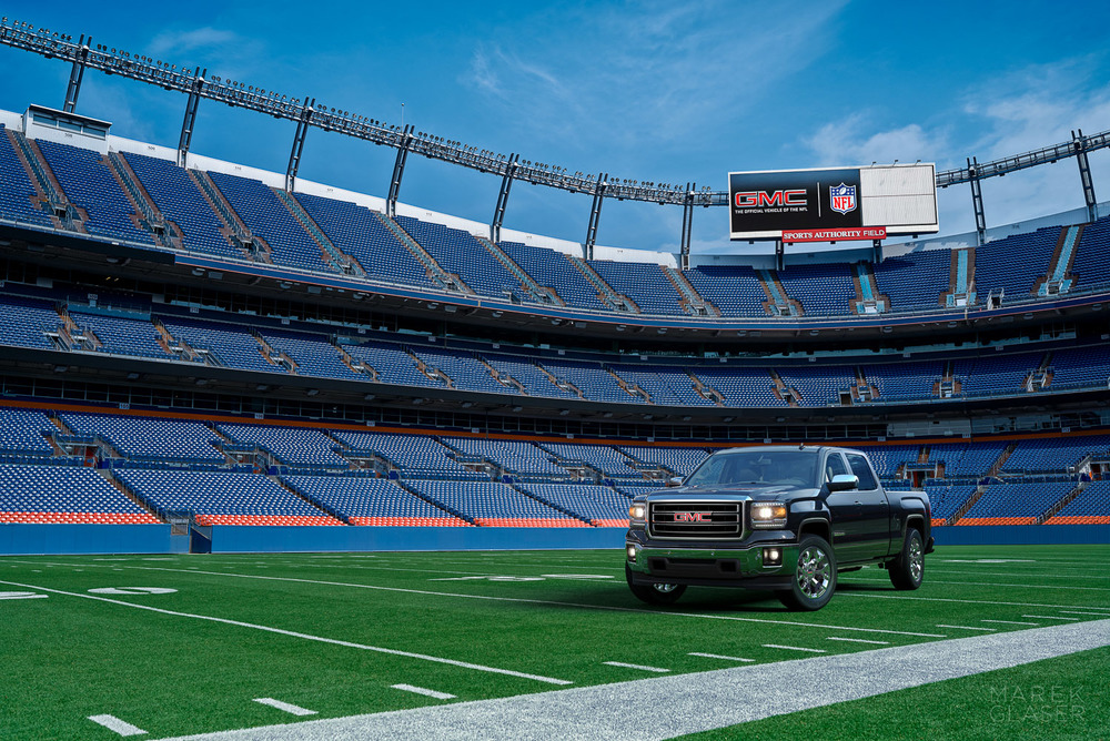 2014 GMC Sierra in Denver Broncos Stadium.