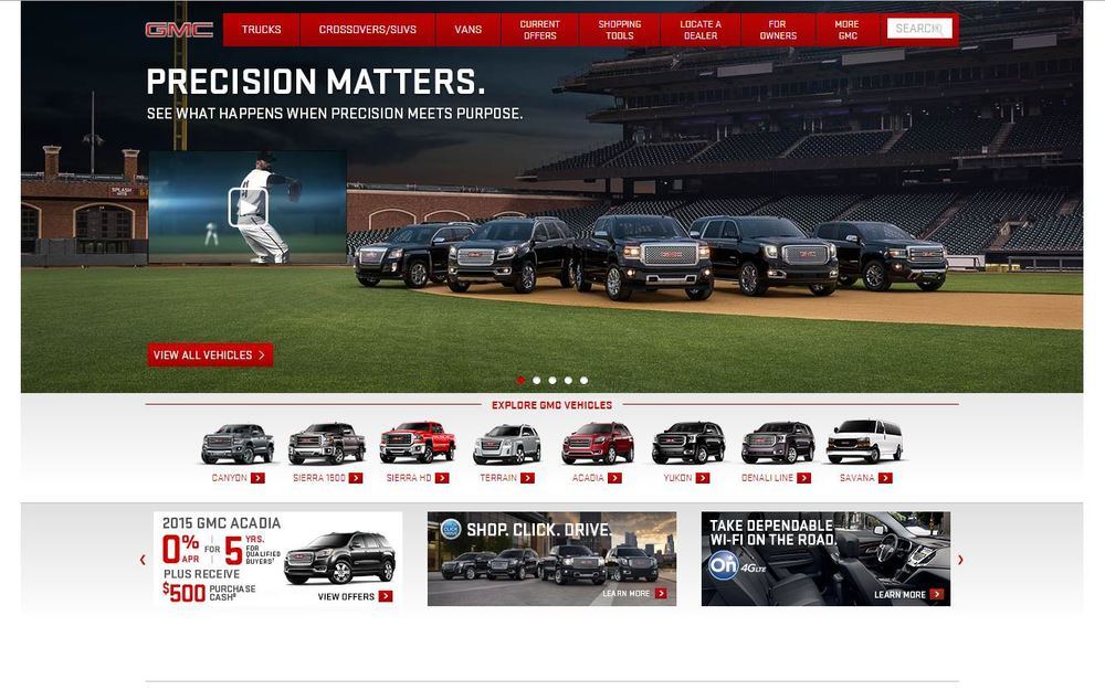 Masthead image usage on GMC's homepage.