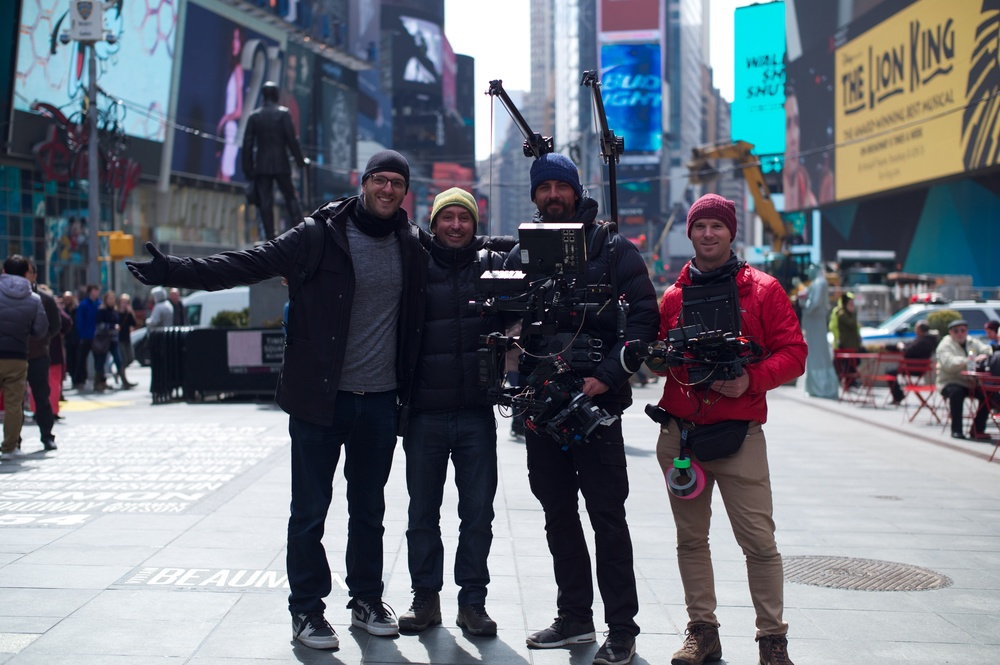 The Camera team! Left to Right: Grant Sputore (Director), Kelvin Munro (Producer/1st AD), Patrick O'Sullivan (D.O.P) & Myself, Ross Metcalf (1st AC). Photo by Craig Buchanan