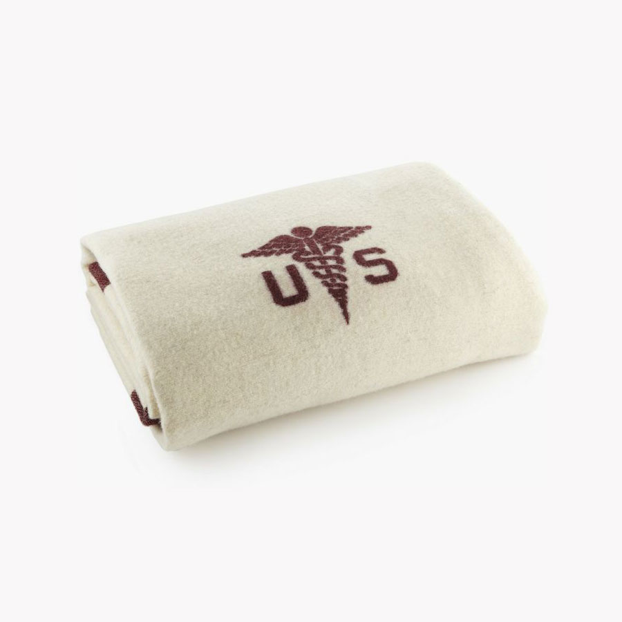 Faribault  Foot Soldier Military Wool Blanket - Medic Cream