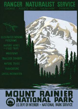 WPA Mount Rainier National Park Poster Reproduction. Prints available at  Ranger Doug
