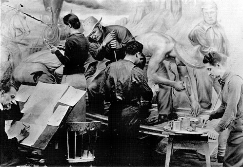"""Edward Laning and assistants at work on his mural """"The Role of the Immigrant in the Industrial Development of America"""" done under the WPA Federal Art project for the Dining Room of Ellis Island. Photo Courtesy of the  New Deal Network ."""