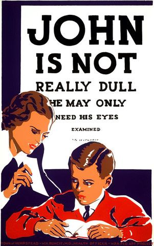 """WPA   Poster""""John Is Not Really Dull"""" Reproduction. Image courtesy of Vintagraph. Prints available at  Vintagraph  ."""