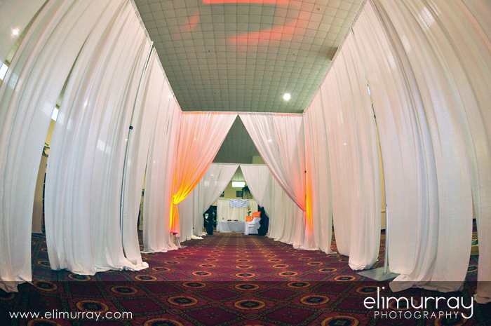 White curtain bridal fair entrance