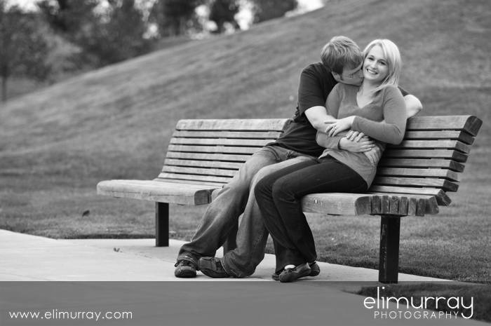 Kissing on Park Bench