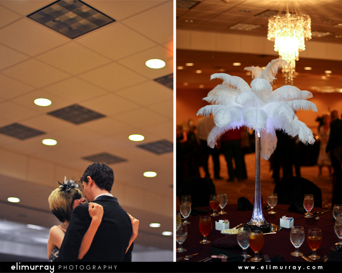 Wedding Reception Feather Centerpieces