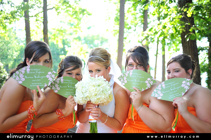 Bridesmaids with Fans