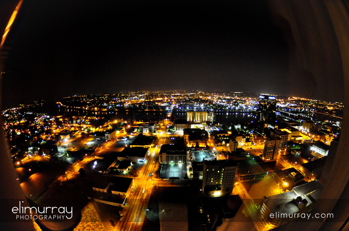 Little Rock at night birds eye view