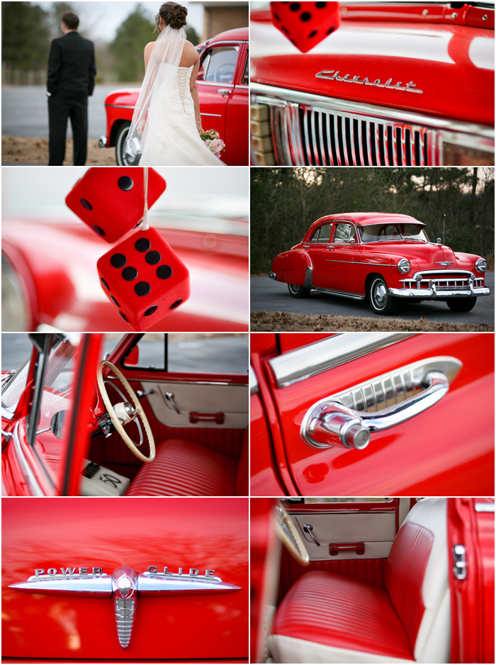 Red Classic Chevy Wedding