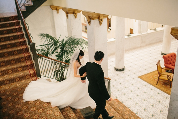 Historic hotel bride and groom