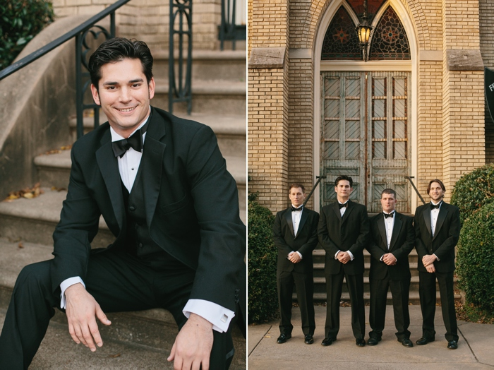 Groom and groomsmen in black tux