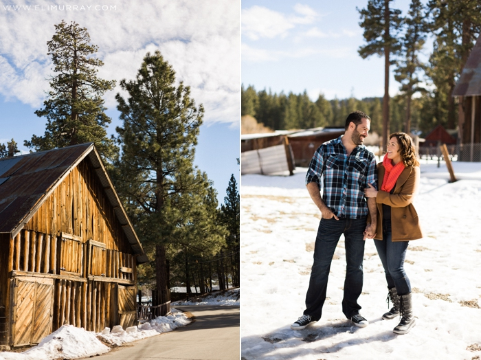 winter wood barn engagements