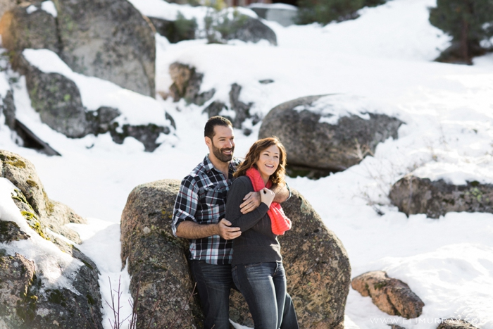 Couple in love in the mountains of California
