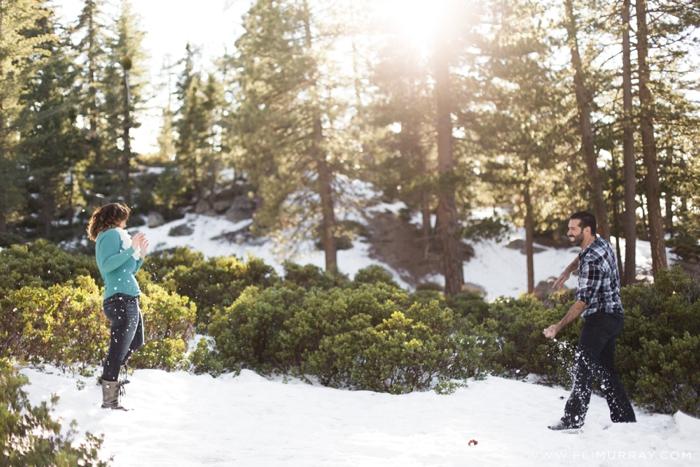 Snowball fight in Big Bear, California