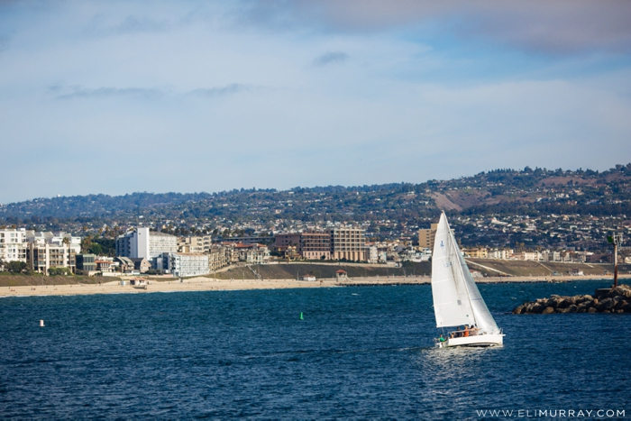 Sailboat in harbor at Redondo Beach, CA