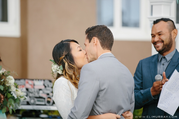 Bride and Groom's first kiss as husband and wife